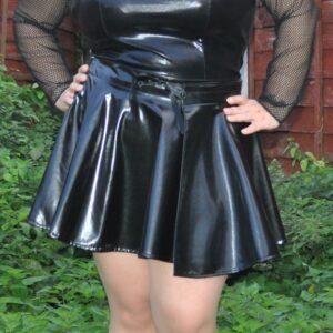 PVC flared skirt – Black