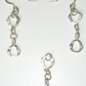 Sterling silver handcuff drop pendant and earring set