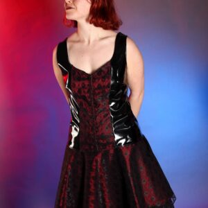 Black and red lace burlesque skirt