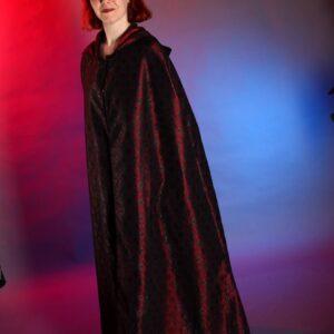 Red taffeta and lace cloak