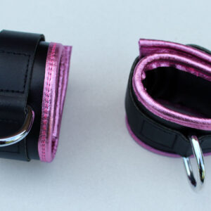 Ankle restraints – pink leather edging