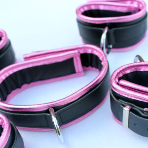 Pink edged wrist, ankle and collar set