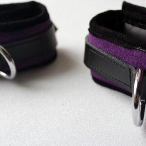 Purple padded suede wrist restraints