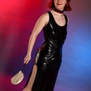 Side slit dress – black