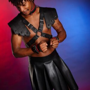 Gladiator leather chest harness
