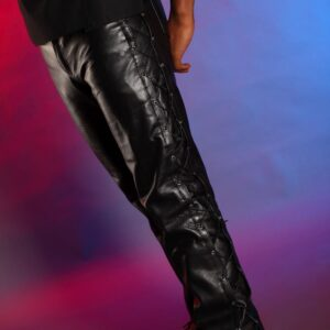 Leather side lacing trousers