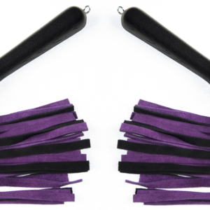 Matched pair of suede floggers with black oak handles