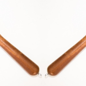 Matched pair of suede floggers with oak handles