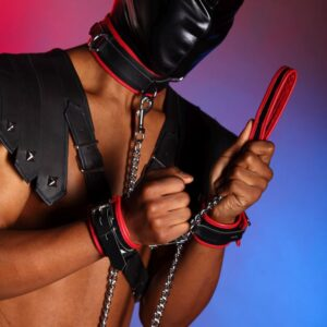 Red leather edged leash