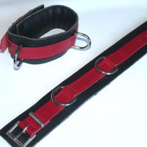 Upper arm cuffs red and black
