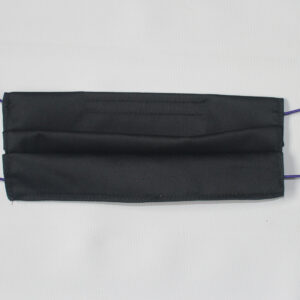 Black facemask with elastic straps