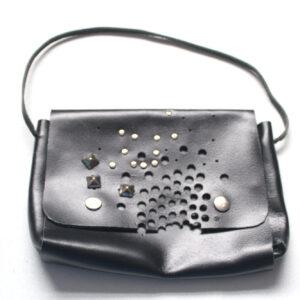Black leather studded bag