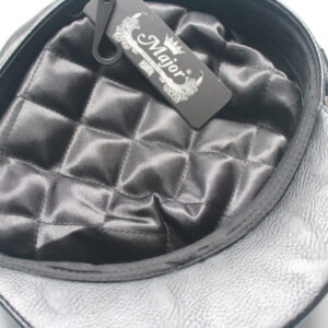 Leather look peaked cap with chain