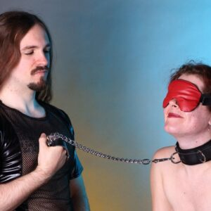 Black leather chain leash