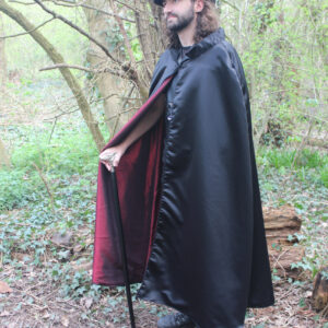 Satin cape with red lining
