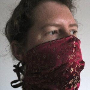 Dark pink flower face mask