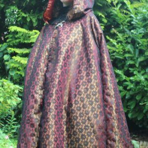 Extra large golden taffeta and lace cloak