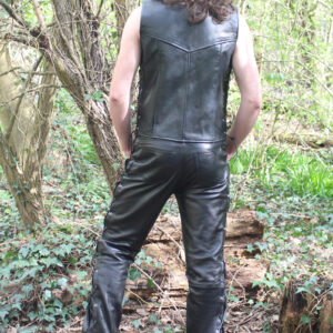 Real leather waistcoat with side lacing