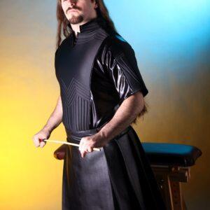 Pleated leatherette kilt