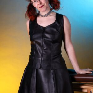 Leather look short skirt