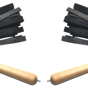Matched pair of leather floggers with oak handles