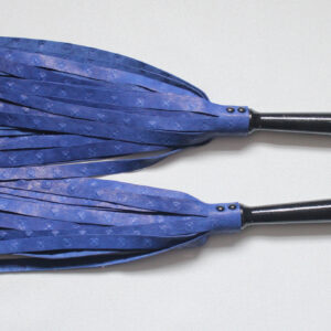 Matched pair of blue leather floggers