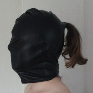 Stretchy PVC hood with ponytail hole