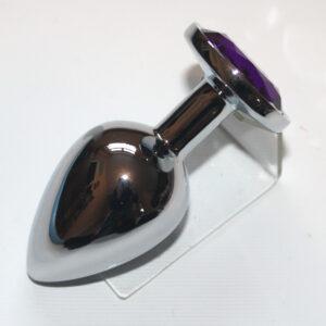 Purple circle anal plug (Silver finish)