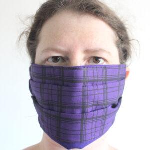 Purple tartan face covering