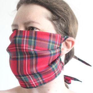 Red tartan face mask
