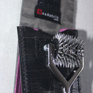 Seven wheel pinwheel with leather case