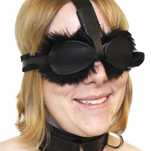 Sheepskin blindfold with overhead strap