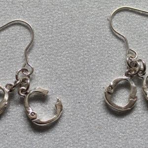 Silver handcuff earrings
