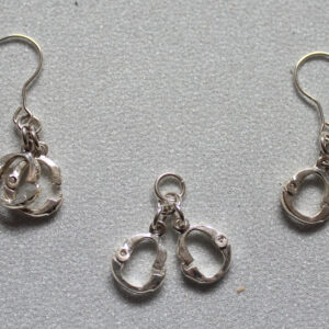 Silver handcuff drop pendant and earring set