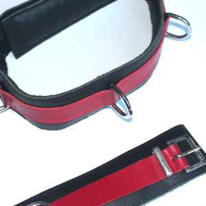 Thigh bondage restraints red and black leather