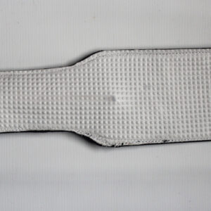 White texture leather and black suede paddle